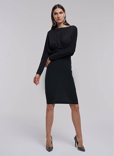 People By Fabrika Sırtı V Elbise Siyah